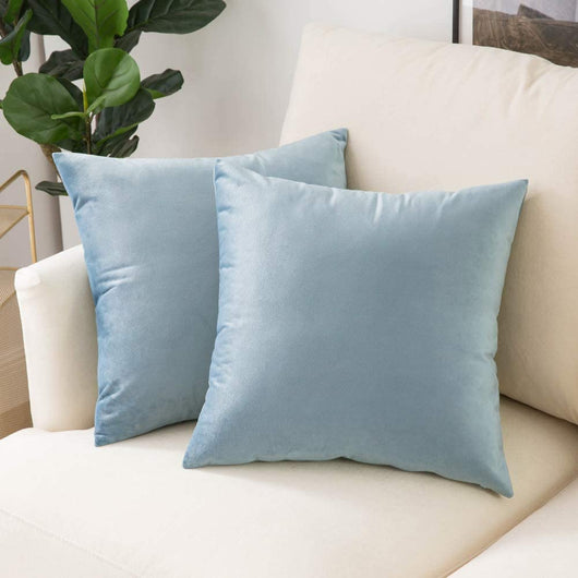 Square Light Blue Velvet Throw Pillow