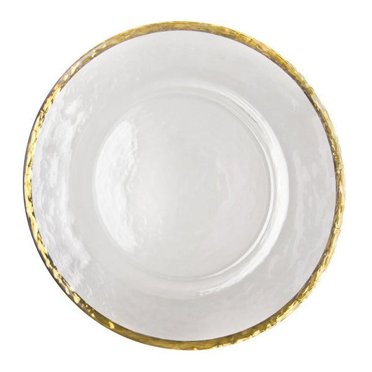"13"" Glass Gold Rimmed Charger Plate"