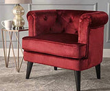 Burgundy Button-Tufted Arm Chair