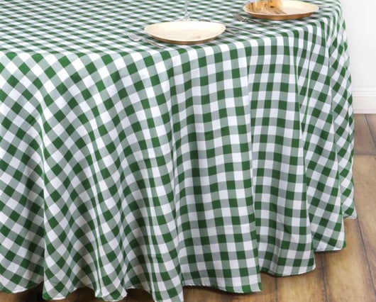 "120"" Green & White Check Round Polyester Table Drape"