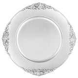 Silver Round Ornate Charger Plate