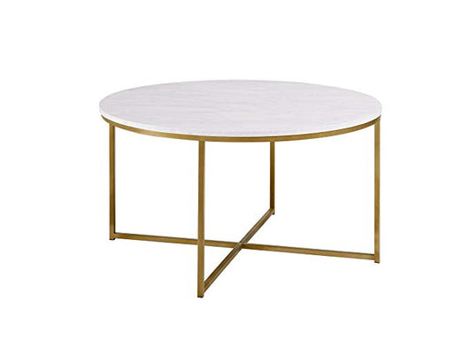 "36"" Round Faux Marble/Gold Coffee Table"