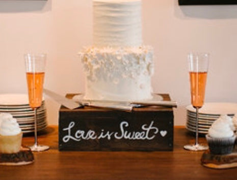 """Love is Sweet"" Rustic Square Cake Stand"