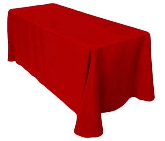 "90""x156"" Red Polyester Table Drape"