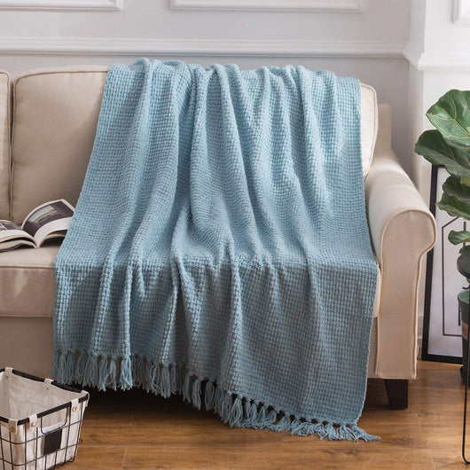 Silver Blue Woven Plaid Throw Blanket
