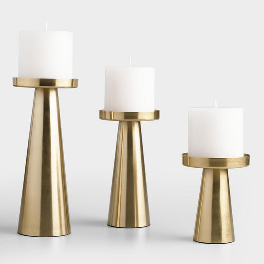 Metal Contemporary Pillar Candle Holders- Set of 3