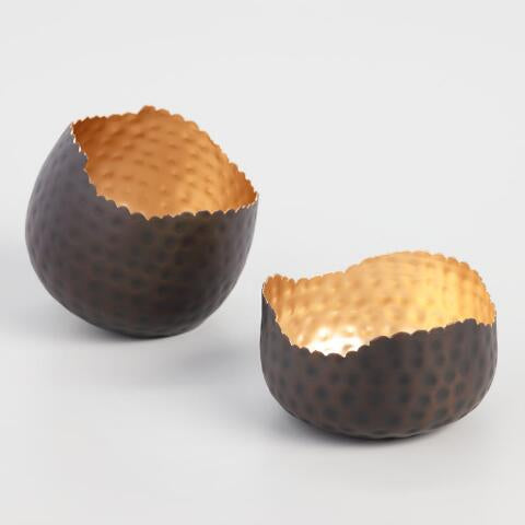 Dark Bronze & Gold Hammered Candle Holders