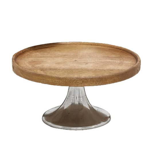Wood Cake Stand with Silver Base