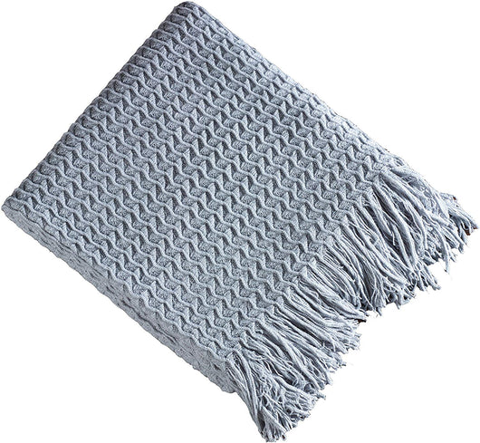 Light Blue Winding Wave Throw Blanket