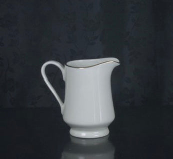 "2 3/4"" Creamer- Ivory Rim- Double Gold Bands"
