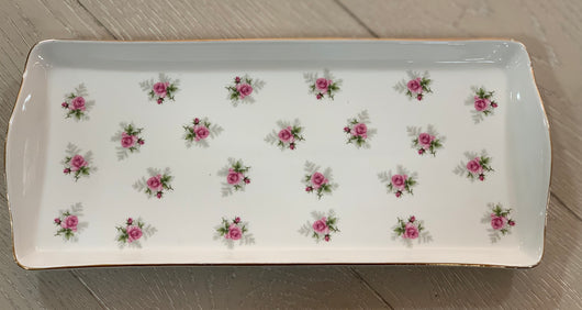 White & Pink Floral Serving Trays