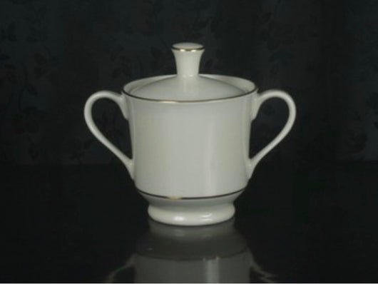"3 3/4"" Sugar Bowl with Lid - Classic Ivory Rim - Double Gold Bands"