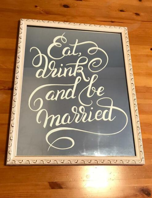 """Eat Drink & Be Married Mirrored Sign"