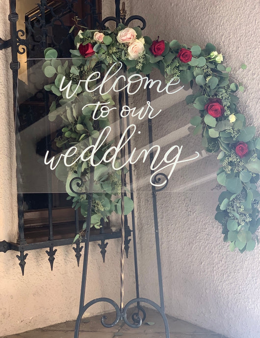 """Welcome To Our Wedding"" Acrylic Sign"
