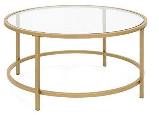 "36"" Round Glass Coffee Table with Gold Satin Trim"