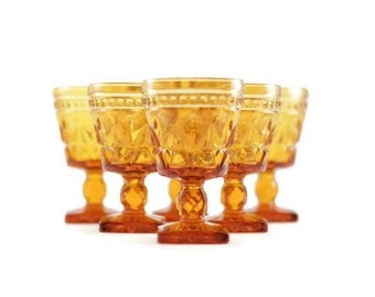 Mismatched Vintage Amber Colored Goblets