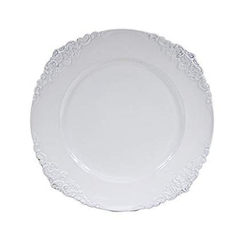 White Round Ornate Charger Plate