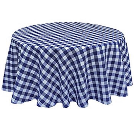 "120"" Blue & White Check Round Polyester Table Drape"