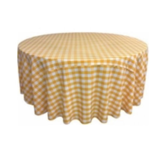 "120"" Yellow & White Check Round Polyester Table Drape"