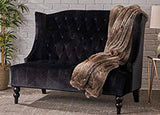 Black Tufted Wing Back Velvet Love Seat