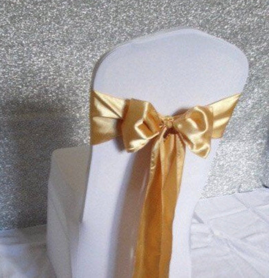 Gold Satin Chair Sash