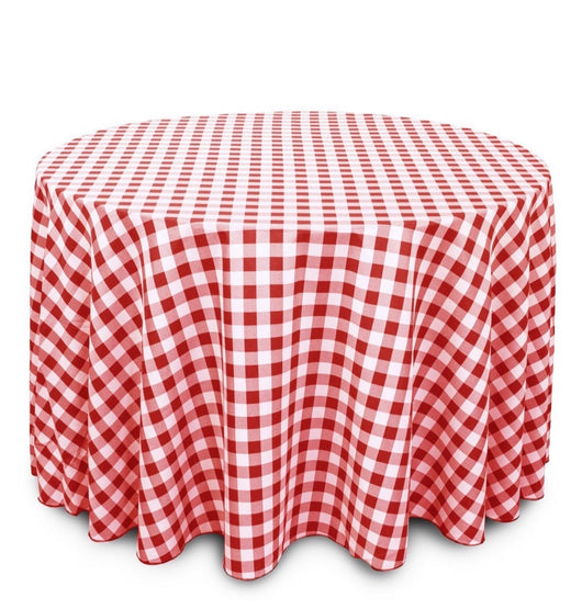 "120"" Red & White Check Round Polyester Table Drape"