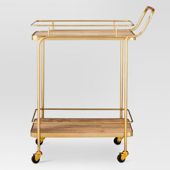Wood Gold Bar Cart