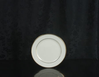 "6 1/2"" Bread & Butter Plate - Classic Ivory Rim - Double Gold Bands"