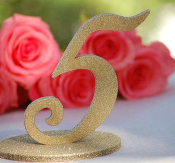 Gold Glitter Table Numbers 1-20
