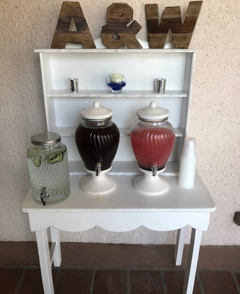 White Ceramic & Glass Drink Dispenser