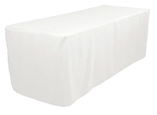 4' White Polyester Fitted Tablecloth
