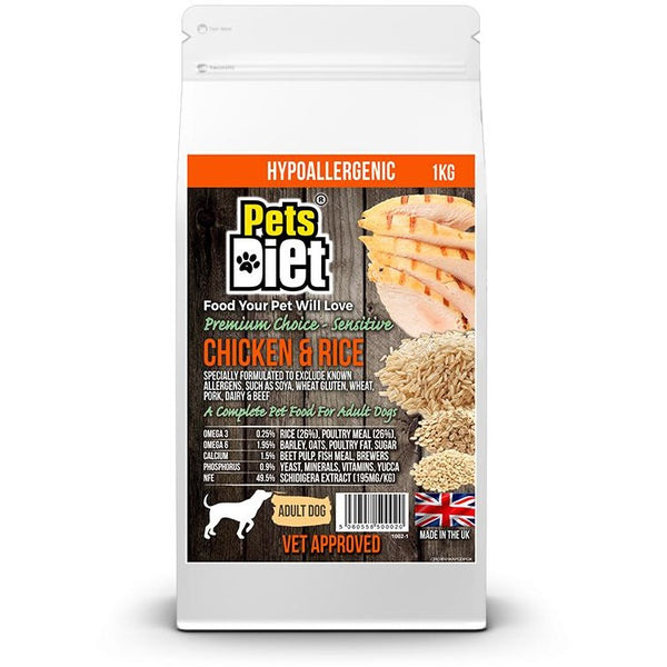 Pets Diet Chicken & Rice ADULT Various Bag Sizes, Dog food, Pets Diet, Need Not Lift A Paw Limited