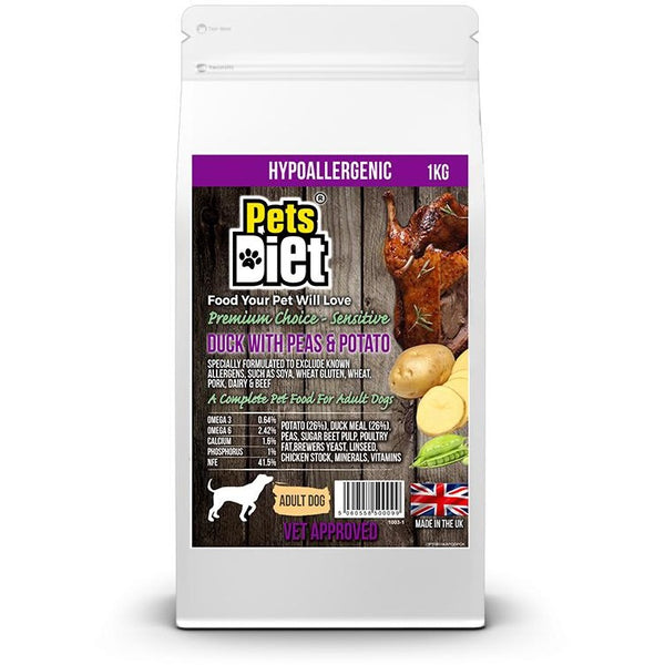 Pets Diet Duck & Potato ADULT Various Bag Sizes, Dog food, Pets Diet, Need Not Lift A Paw Limited