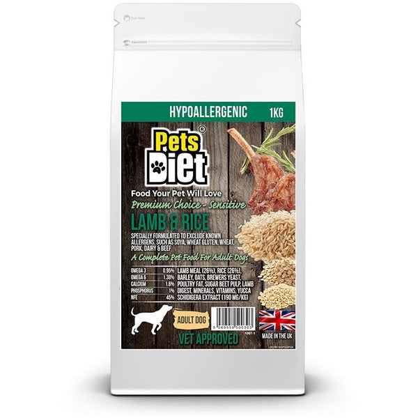 Pets Diet Lamb & Rice ADULT Various Bag Sizes, Dog food, Pets Diet, Need Not Lift A Paw Limited