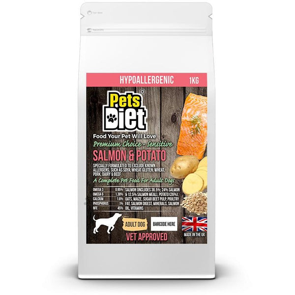 Pets Diet Salmon & Potato ADULT Various Bag Sizes, Dog food, Pets Diet - Need Not Lift A Paw Limited
