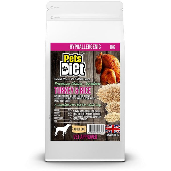 Pets Diet Turkey & Rice ADULT Various Bag Sizes, Dog food, Pets Diet, Need Not Lift A Paw Limited