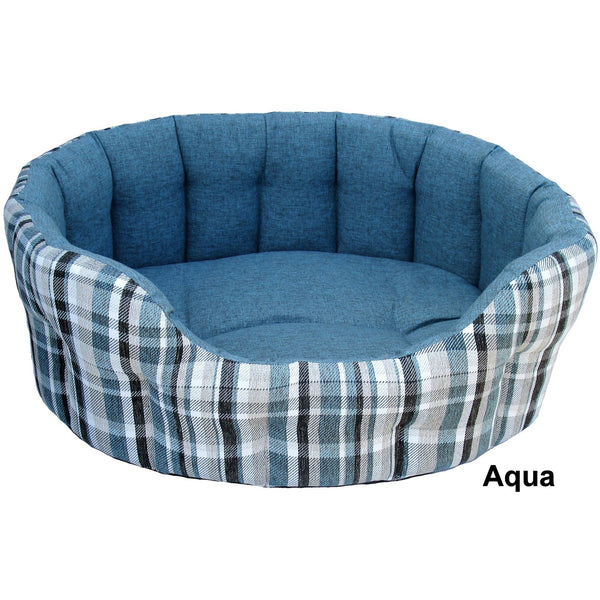 Premium Oval Drop Fronted Anti Bacterial Fabric Plaid Design Bed, Dog bed, Pets & Leisure, Need Not Lift A Paw Limited