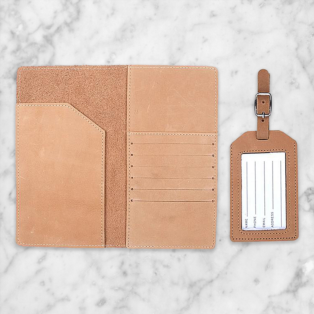 Handmade Leather Passport Cover and Luggage Tag