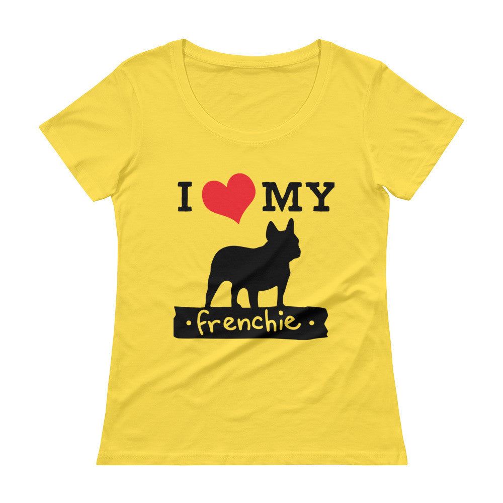 Ladies' Scoopneck French Bulldog T-Shirt