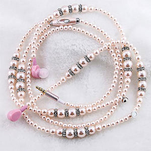 Beaded Necklace Earphones with Mic