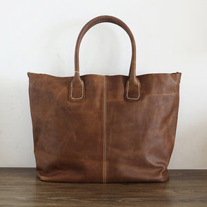 Soft Leather Bag Leather Tote Bag Handmade Leather Bag, Handmade Full Grain Cowhide Leather Tote