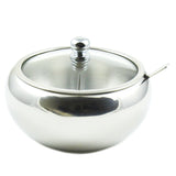 Stainless Steel Sugar Bowl with Glass Lid - Bonus Spoon - 2 Cup Capacity (500ml)