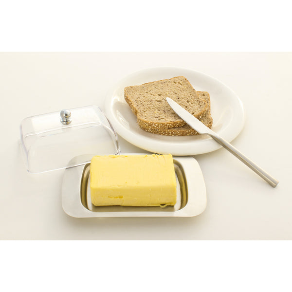 Stainless Steel Butter Dish with Easy to Hold Lid