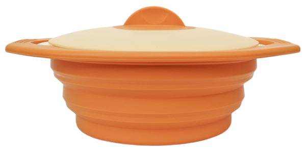 100% Silicone Family Size Steamer - Collapsible Design with Lid & Detachable Colander
