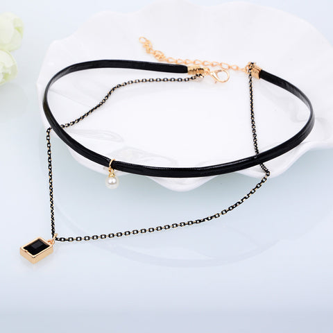 Pearl Square Pendant - Hot Trendy New Double Layer Chocker