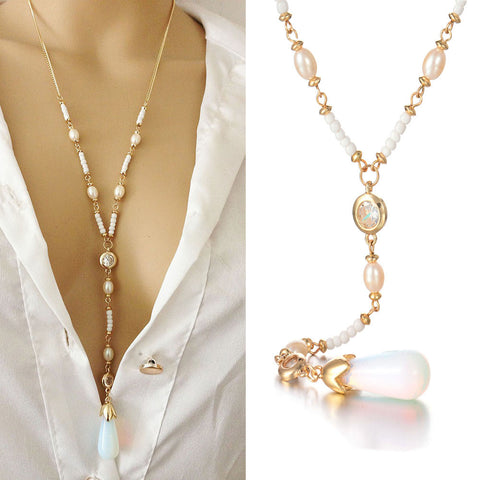 New Tone Gold Crystal White Stone & Pearls Necklace