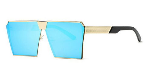 BLUE AND GOLD SQUARE SUNGLASSES