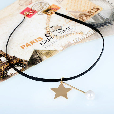 Pearl Gold Color Star Pendant Necklace