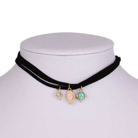 3 PCS Set Necklaces - 3 Colors Faux Stone Black Velvet Choker