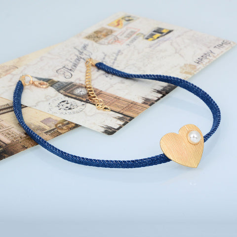 Cute Blue Denim Necklace - Chokers